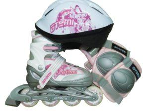 ATEMI AJIS-09 Набор роликов с защитой и шлемом Розовый