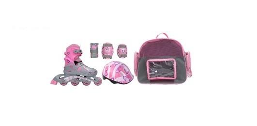 Alpha Caprice PW116 Pink Набор роликов с защитой и шлемом